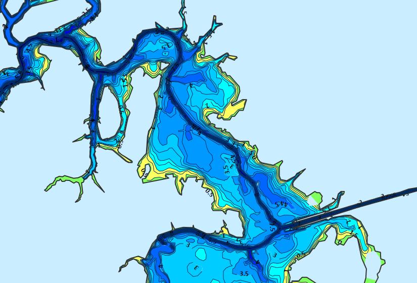 Карта глубин вазузского водохранилища